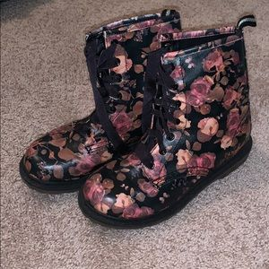 Floral Ribbon Lace Up Rain Boots